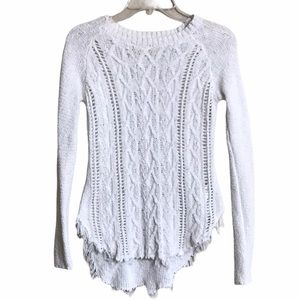 KAISELY Sweater White Cable Knit Raw Hem Destroyed